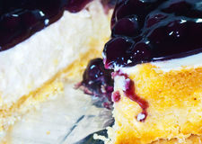 Sliced blue berry cheese cake stock photos