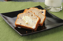 Sliced blueberry bread Royalty Free Stock Images