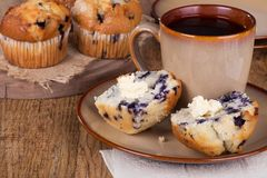 Sliced Blueberry Muffin Stock Photography