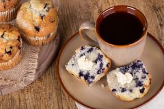 Sliced Blueberry Muffin Royalty Free Stock Photos