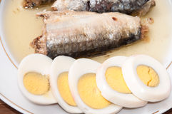 Sliced boiled egg and sardines served on the plate Royalty Free Stock Photo