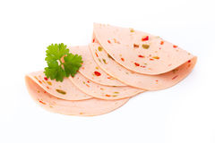 Sliced boiled ham sausage isolated on white background, top view Royalty Free Stock Photos