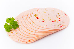 Sliced boiled ham sausage isolated on white background, top view Stock Image