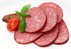Sliced boiled sausage Stock Image