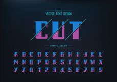 Sliced bold font and alphabet vector, Modern Typeface and letter number design, Graphic text on background. Sliced bold font and alphabet vector, Modern Typeface vector illustration