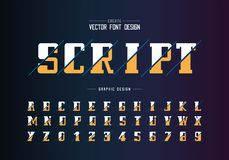 Sliced bold font and alphabet vector, Script and number design, Graphic text on background. Sliced bold font and alphabet vector, Script and number design text stock illustration