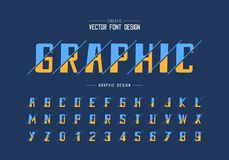 Sliced bold Font and alphabet vector, typeface and number design, Graphic text on background. Sliced bold Font and alphabet vector, typeface and number design stock illustration