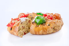 Sliced Bolo Rei King Cake, the traditional Portuguese Christmas cake Royalty Free Stock Image