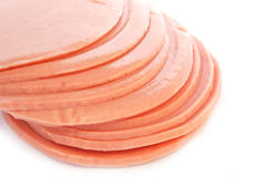 Sliced of bologna ham isolated. On white background royalty free stock photos