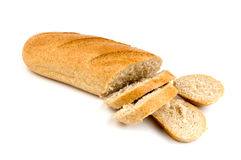 Sliced bread. With bran isolated over white Stock Image