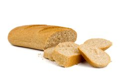 Sliced bread. With bran isolated over white Stock Photography