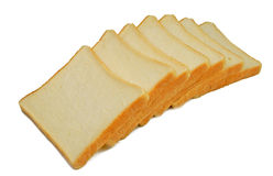 Sliced bread. Seven slices of bread isolated over white background Royalty Free Stock Images