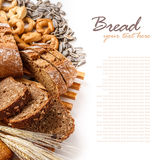 Sliced bread. From rye and wheat flour on white Royalty Free Stock Photography