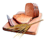 Sliced bread. Fresh sliced bread and wheat on a wood cutting board. Original hand painted illustration vector illustration