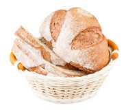 Sliced bread in basket. On white background royalty free stock image