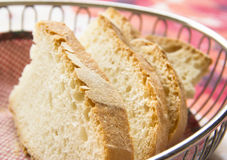 Sliced bread in a basket Stock Images