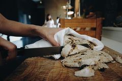 Sliced bread. For breakfast, woman hand Royalty Free Stock Photos