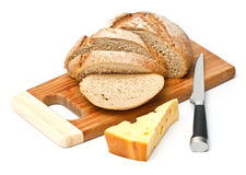 Sliced bread and cheese stock image