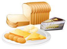 Sliced bread with cheese and biscuits Royalty Free Stock Images