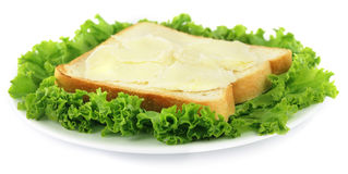 Sliced bread with cheese and green lettuce Royalty Free Stock Photo