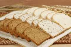 Sliced bread closeup. Assorted sliced fresh bread closeup stock photography