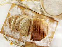 Sliced bread on cutting board Royalty Free Stock Photo