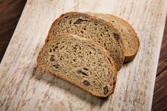 Sliced bread on a cutting board Royalty Free Stock Images