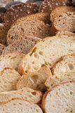 Bakery concept. Plenty of sliced bread background. Sliced bread gradient background. Bakery and grocery concept. Fresh, healthy whole grain sliced sorts of rye royalty free stock image
