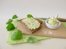 Sliced bread with herb butter Royalty Free Stock Photo