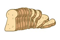 Sliced Bread isolated on white background-Vector Illustration. Sliced Bread, isolated on white background, Vector Illustration for Coloring Book - Line Drawn stock illustration