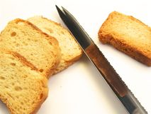 Sliced bread with knife Royalty Free Stock Photography