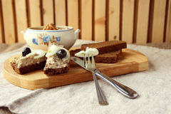 Sliced bread with mincemeat. Slices of rye bread with mincemeat stock image