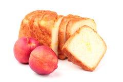 Sliced bread and nectarine Stock Photos