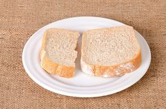 Sliced bread on plate Royalty Free Stock Photo