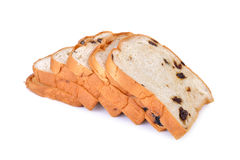 Sliced bread with raisin on white background Stock Image