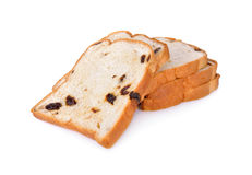 Sliced bread with raisin on white background Stock Photography