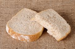 Sliced bread on sackcloth Royalty Free Stock Image
