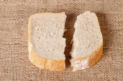 Sliced bread on sackcloth Stock Photo