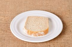 Sliced bread on sackcloth Stock Image