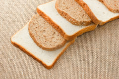 Sliced bread on sacking Royalty Free Stock Photo