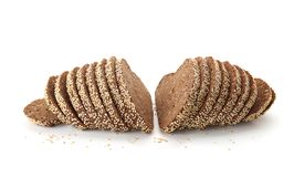 Sliced bread with seeds and sesame isolated. On white Stock Photo