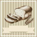 Sliced Bread. Sketch illustration of sliced bread and wheat for menu or card design vector illustration