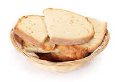 Sliced bread in small basket Royalty Free Stock Photography