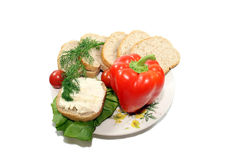 Sliced bread with vegetables Stock Photography