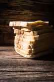 Sliced bread on wooden background Royalty Free Stock Photos