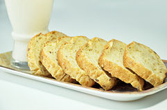 Sliced breads. Sliced wholewheat breads and milk Royalty Free Stock Images