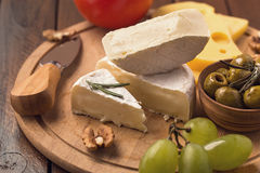 Sliced brie cheese royalty free stock images