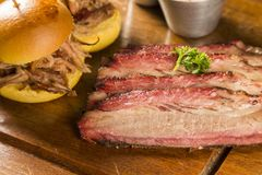 Sliced brisket with bread. Gourmet food Stock Image