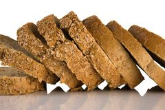 Sliced brown bread Isolated on a white background Royalty Free Stock Photo