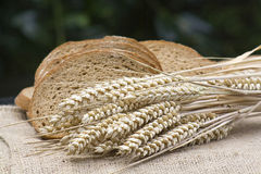 Sliced brown bread and wheat ears Stock Photography